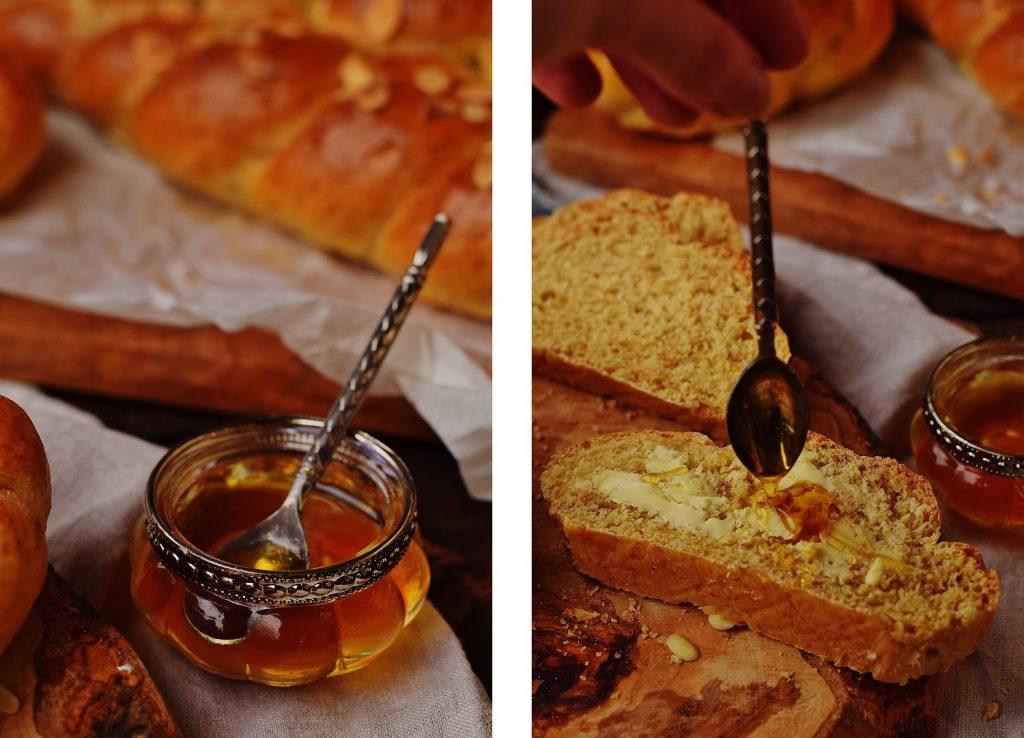 Dinkel-Striezel mit Honig