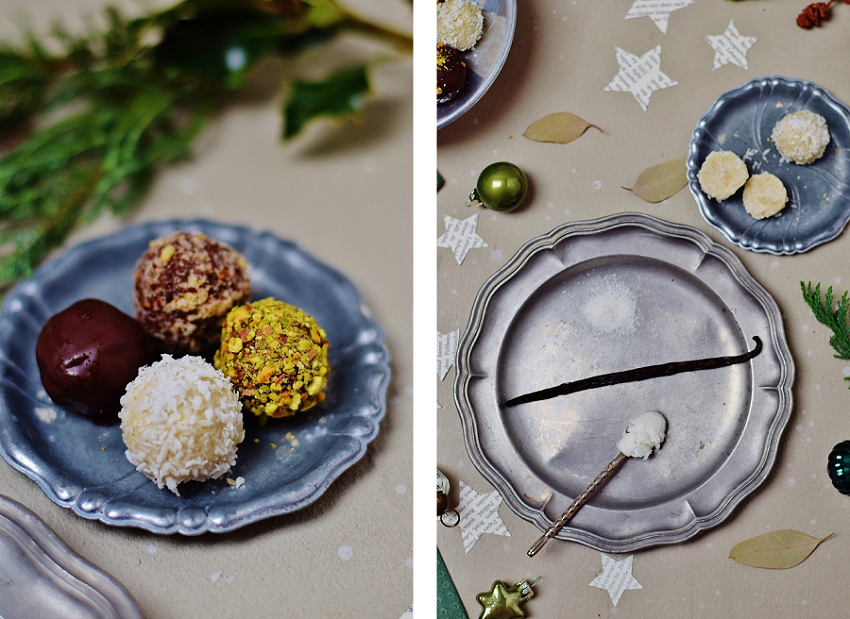 Kokos-Pralinen für Weihnachtspralinen (nussfrei, vegan, zuckerfrei)