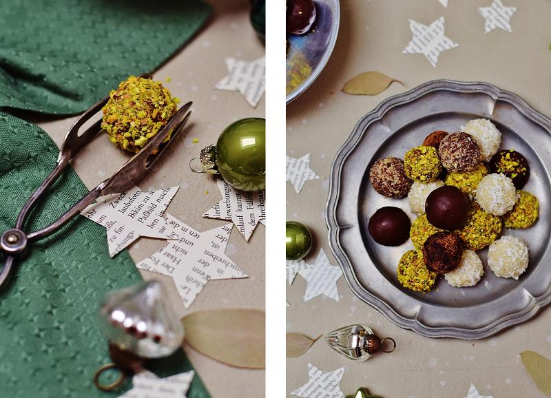 Pistazien-Gin-Pralinen - gesunde, vegane, zuckerfreie Weihnachtspralinen