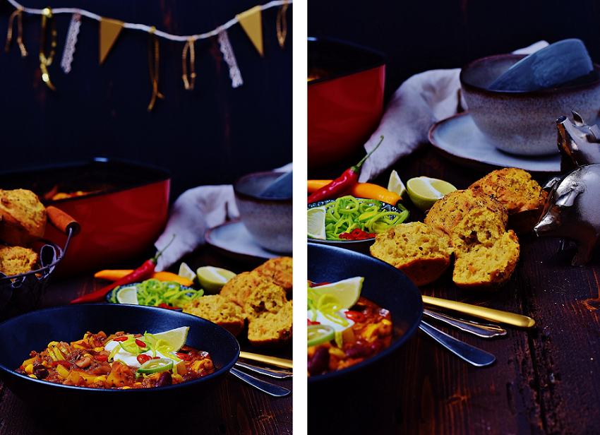 Scharfes Chili con Carne mit Maisbrot - mexikanisch kochen zu Silvester