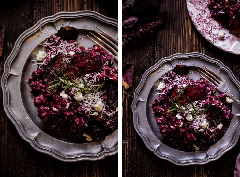 Rote-Rüben-Risotto mit Gemüsechips