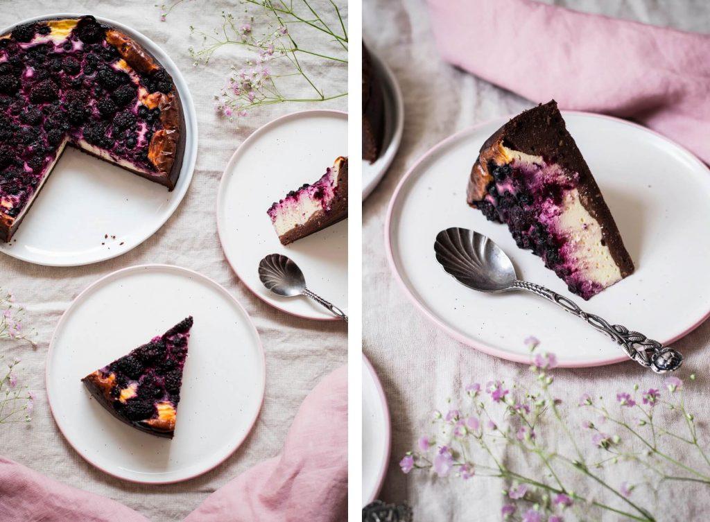 Glutenfreier Brownie-Cheesecake ohne Zucker