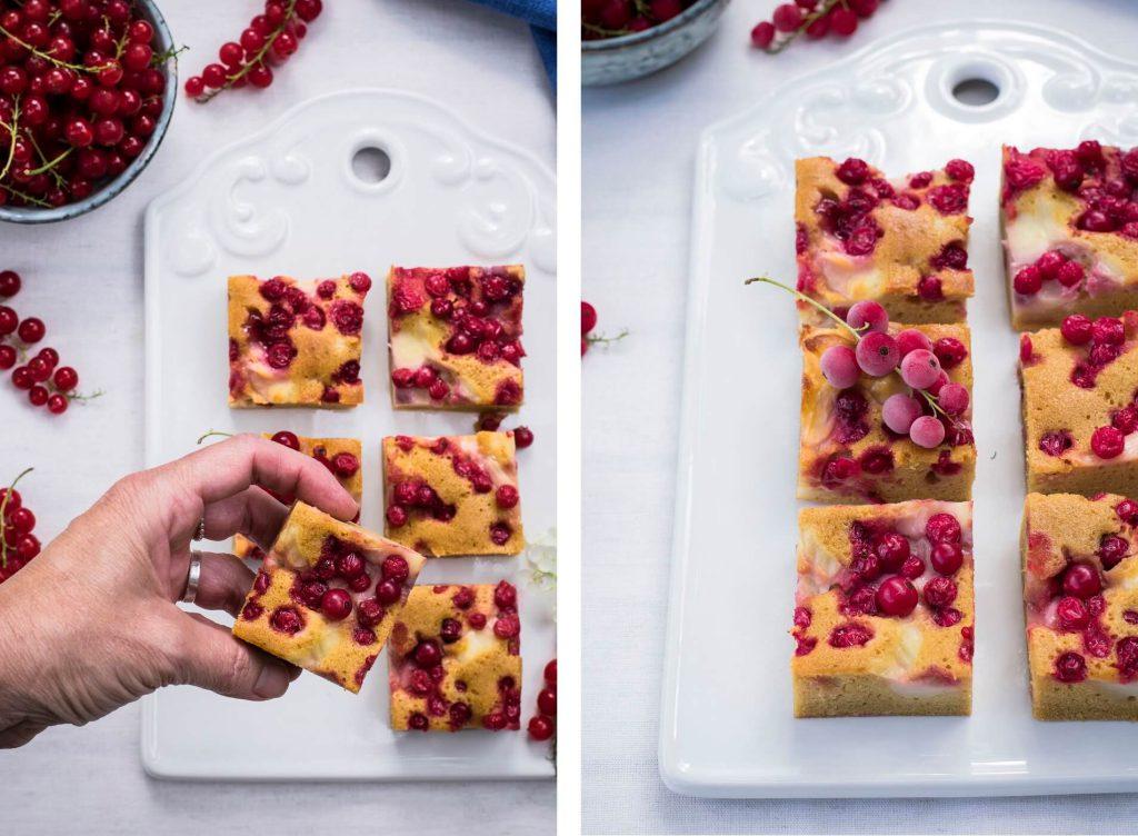 Gesundes Rezept für einen Ribiselkuchen mit Pudding