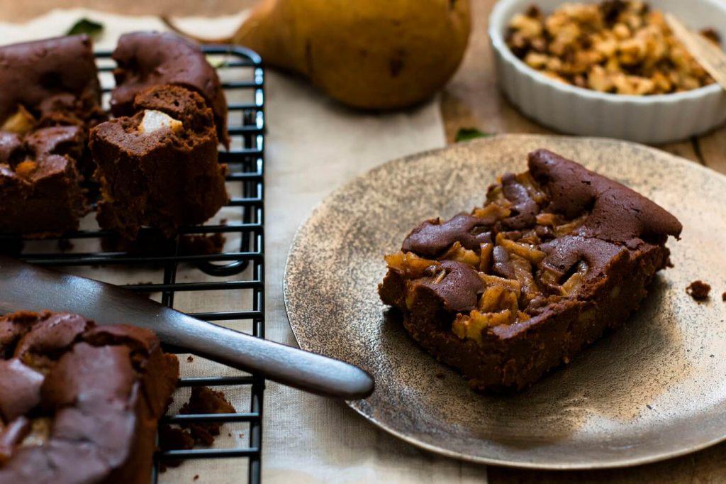 Birnen-Maroni-Brownies ohne Mehl