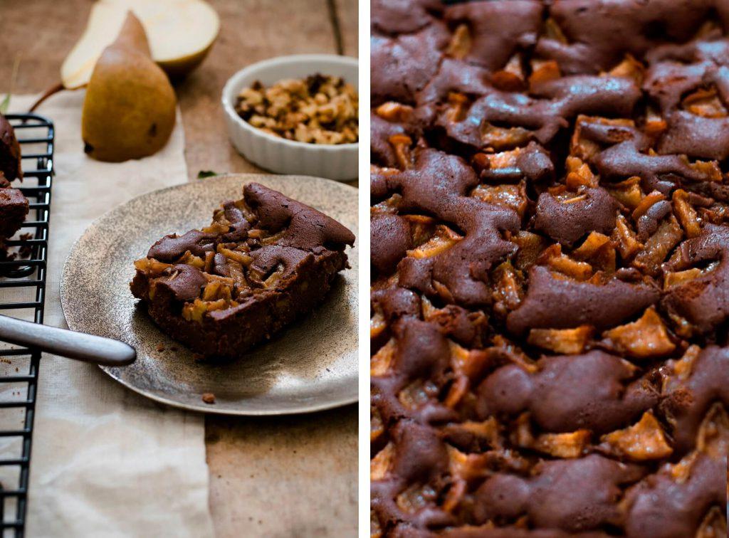 Rezept für gesunde Kastanien-Brownies mit Birnenstücken