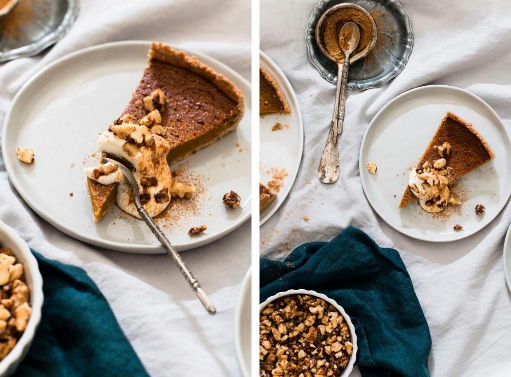 Zuckerfreier Pumpin Pie mit Sauerrahm und Walnüssen